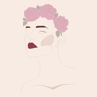 花のある女性一行。花と女性の顔。モダンなミニマリストのシンプルなリニアスタイル。