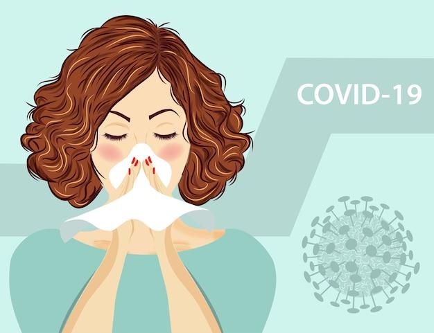 독감에 걸린 여자. 코로나 바이러스 질병, covid-19.