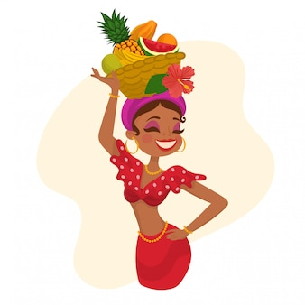 Woman with fruit hat on her head