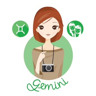 Woman with gemini zodiac sign