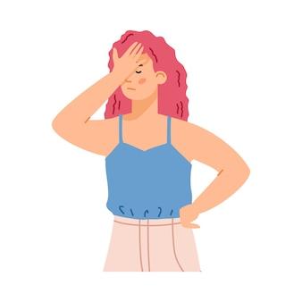 失望または恥のジェスチャーで女性フラットベクトルイラスト孤立