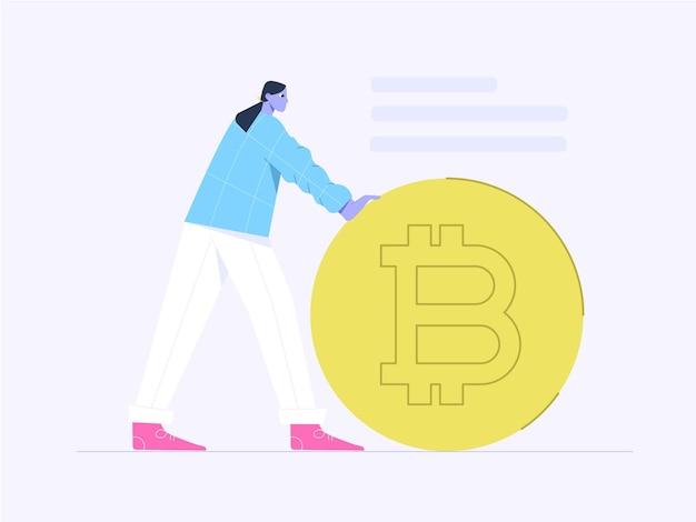 巨大なビットコインコインフラットイラストを持つ女性