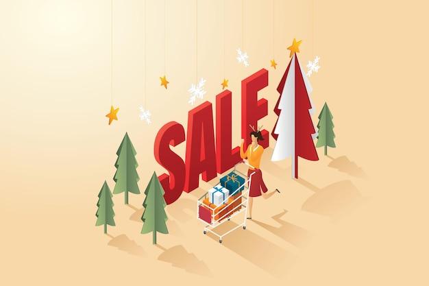オンラインショッピングカートのギフト割引を持つ女性ハッピークリスマス等角ベクトル図