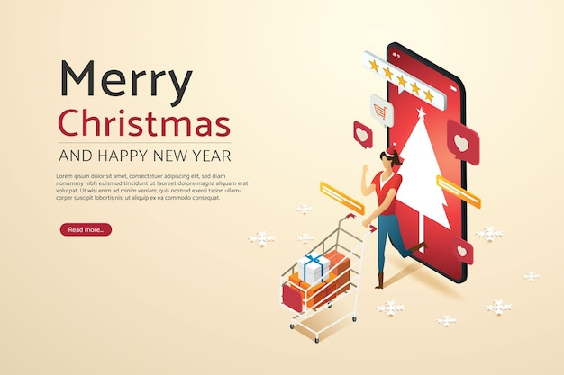 スマートフォンのクリスマス休暇でオンラインショッピングカートのギフト割引を持つ女性