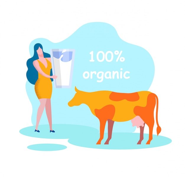 Woman with glass near cow. organic milk products.