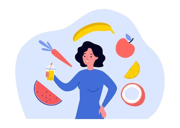 果物に囲まれたフレッシュジュースのガラスを持つ女性。手にストローで飲み物を保持している女の子フラットベクトルイラスト。デトックス、バナー、ウェブサイトのデザイン、またはランディングウェブページの健康食品のコンセプト