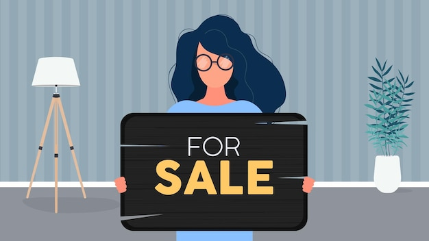 A woman with glasses holds a wooden sign with the inscription for sale. young woman holding a wooden sign. the concept of selling an apartment, office or building. vector.