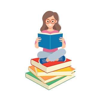 Woman with glasses reading on top of pile of books