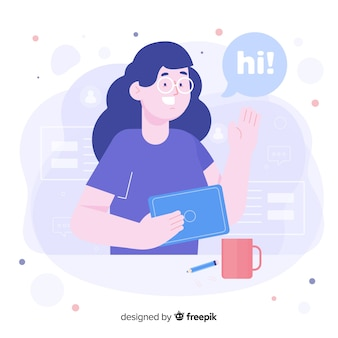 Woman with glasses for welcome concept for landing page
