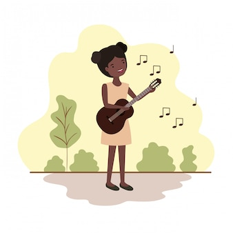 Woman with guitar in landscape avatar character