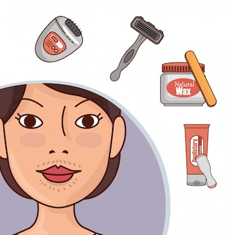 Woman with hair removal tools