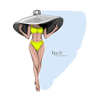 Женщина в шляпе и купальнике, мода и стиль