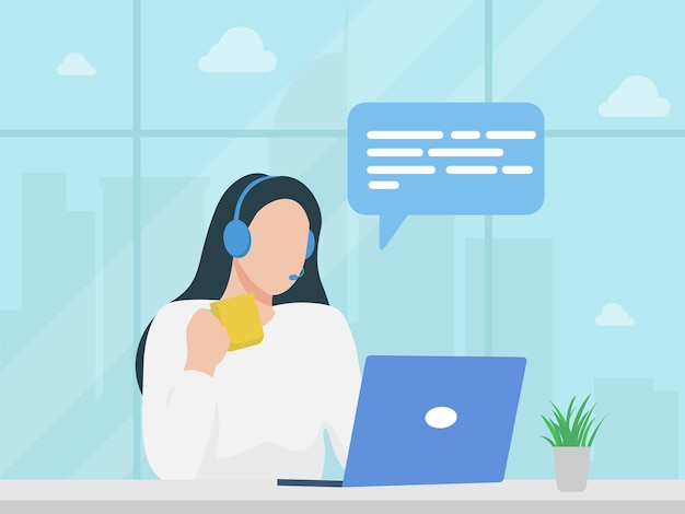 Женщина с наушниками и микрофоном с ноутбуком