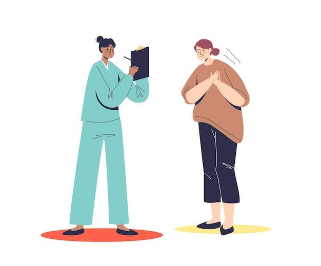 心臓発作と胸痛のある女性。心臓専門医のコンサルティング患者。心臓の痛みと診断の概念。