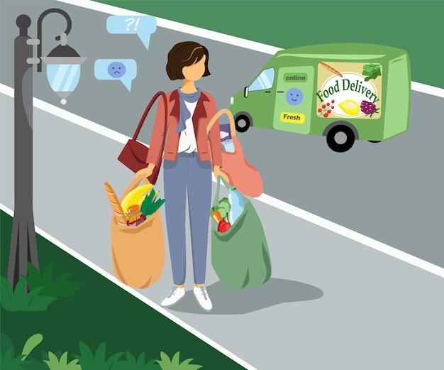 Женщина с тяжелыми сумками из продуктового магазина