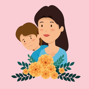 Woman with her son and flowers plants with leaves