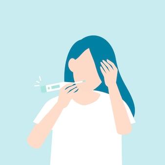 Donna con febbre alta che controlla la sua temperatura consapevolezza covid-19