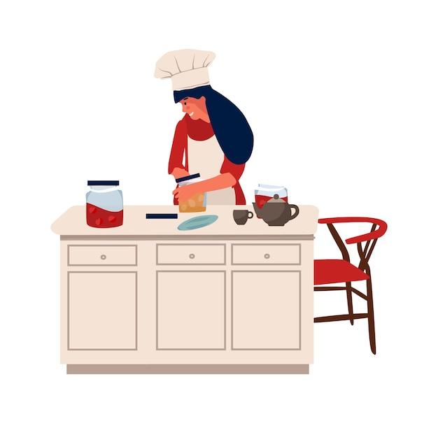 취미가 있는 여자. 소녀는 테이블에 서서 요리합니다. 집에서 요리하고 취미를 하는 벡터 캐릭터