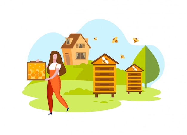 Woman with honeycombs on  apiary