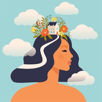 Woman with house and flowers on the head surrounded by clouds