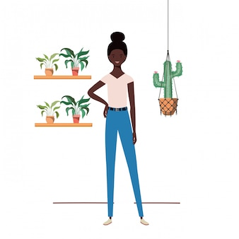 Woman with houseplant and macrame hangers