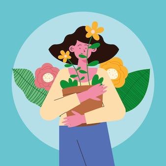 관엽 식물 장면 캐릭터를 가진 여자
