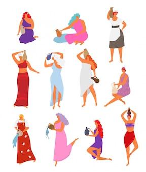 용기와 여자 용기에서 물을 붓는 긴 머리를 가진 아름 다운 소녀. 투수와 민족 드레스에서 여성 춤 여성 캐릭터의 그림 세트는 흰색에 고립