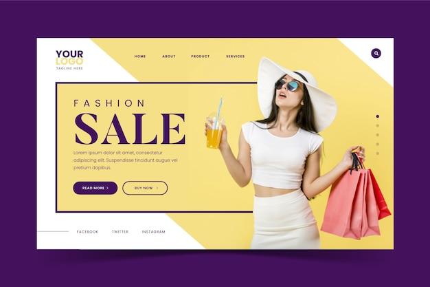 Donna con landing page di vendita di moda di succo