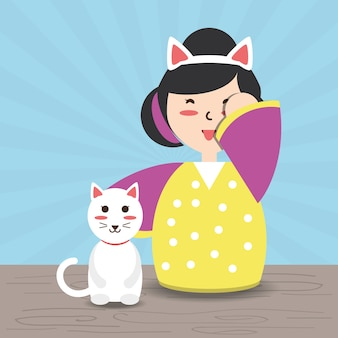 Woman with kimono and cat and costume hat
