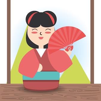 Woman with kimono and fun decoration design