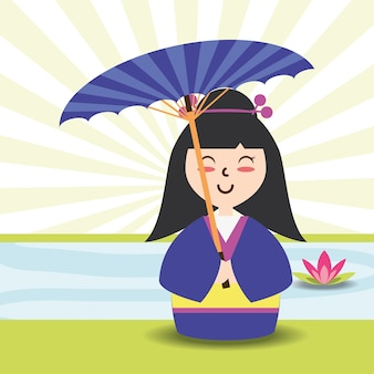 Woman with kimono and umbrella decoration design