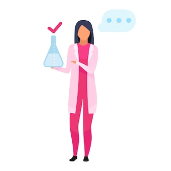 Woman with lab flask flat illustration