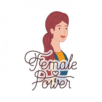 Woman with label female power avatar character