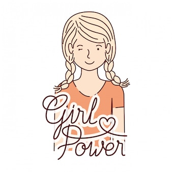 Woman with label girl power avatar character