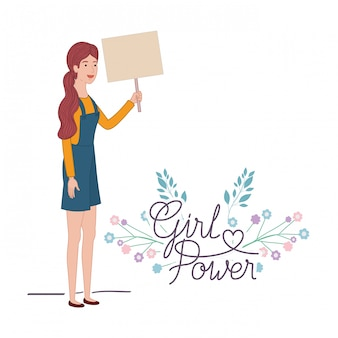 Woman with label girl power character