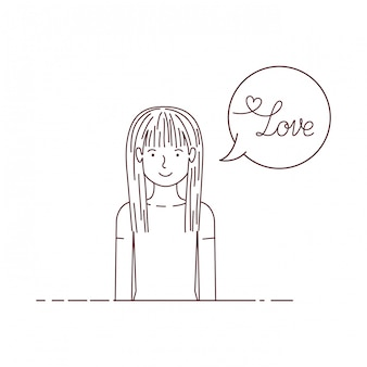 Woman with label love avatar character