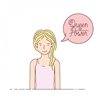 Woman with label queen power avatar character
