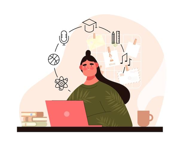 Женщина с компьтер-книжкой за столом. концепция онлайн-образования. информация об обучении мультфильм девочка
