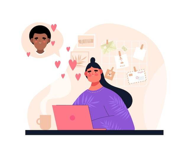 彼氏とチャットまたはオンラインデートラップトップを持つ女性