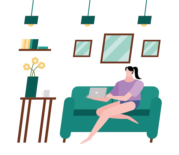 Woman with laptop on couch at home design of activity and leisure theme.