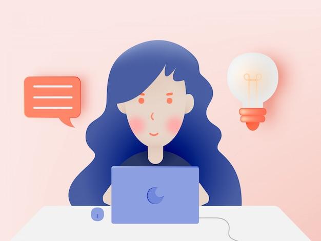 自宅で仕事のためのラップトップを持つ女性