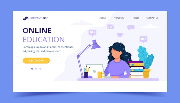 Woman with laptop landing page, education or working concept.
