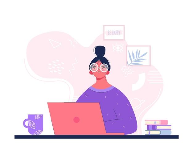 Женщина с компьтер-книжкой. онлайн-образование для компьютера. девушка в очках в стиле плоской рисованной