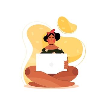 Женщина с компьтер-книжкой сидит. изолированная девушка смотрит на экран компьютера в плоском стиле. человек занимается онлайн-образованием