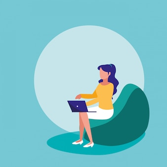 Woman with laptop sitting in sofa character