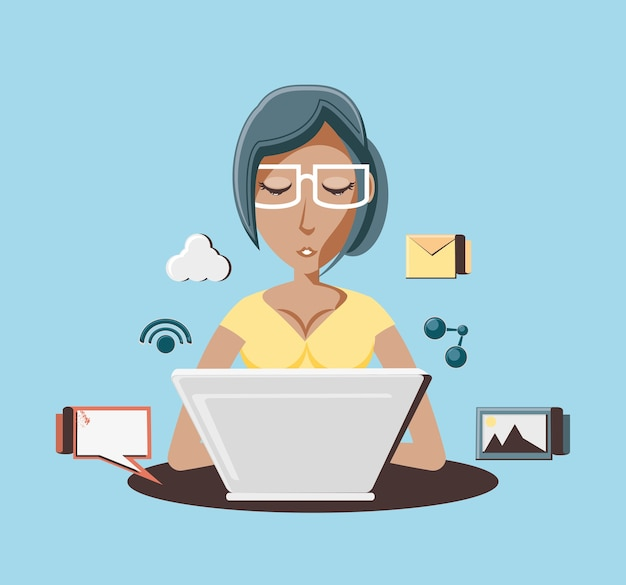 Woman with laptop social media icons