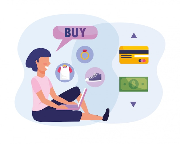 Woman with laptop technology and shopping online with credit card