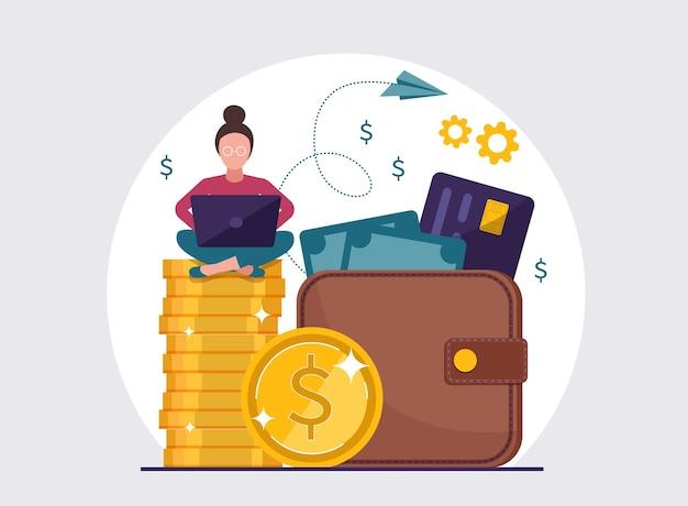 ノートパソコン、財布、コイン、お金を持つ女性