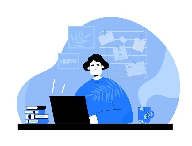 Женщина с ноутбуком, смотреть видео дома. девушка за столом с кофе в стиле рисованной