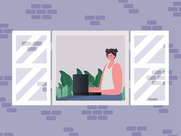 Женщина с ноутбуком, работающая над оконным дизайном работы из домашней темы
